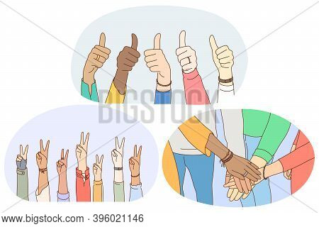 Sign And Gesture Language, Hands Emotion Expression Concept. Hands Of Mixed Race People Showing Thum