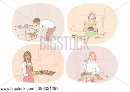 Cooking, Baking, Recipe, Chef, Cook, Food Concept. Young People Men And Women Cooking Food At Home,