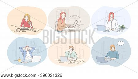 Working In Office, Laptop, Online Communication, Freelance, Startup Concept. Young Women And Men Off