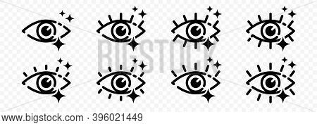 Flat Linear Design. Eye Icon With Sparkling Stars. Pure Radiant Look. Set Of Contour Elements Isolat