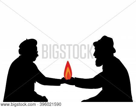 Silhouettes Grandparents Holding Fire Symbol Family House. Illustration Symbol Icon