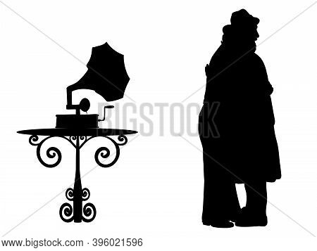 Silhouettes Of Dancing Grandparents Play Gramophone. Illustration Symbol Icon