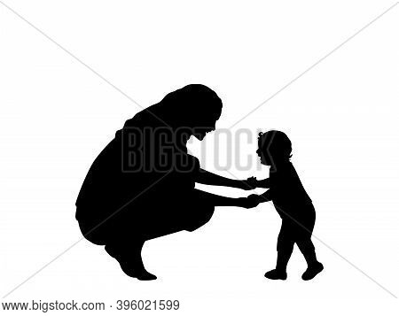 Silhouette Mother Holding Little Son By Hands. Illustration Symbol Icon
