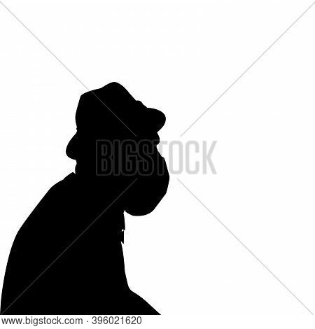 Silhouette Of Grandfather In Medical Mask Closeup. Illustration Symbol Icon