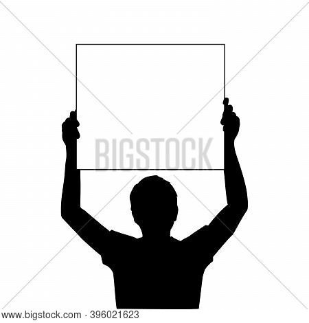 Silhouette Men Holds Banner Placard Blank White Sheet For Text Space Closeup. Illustration Symbol Ic
