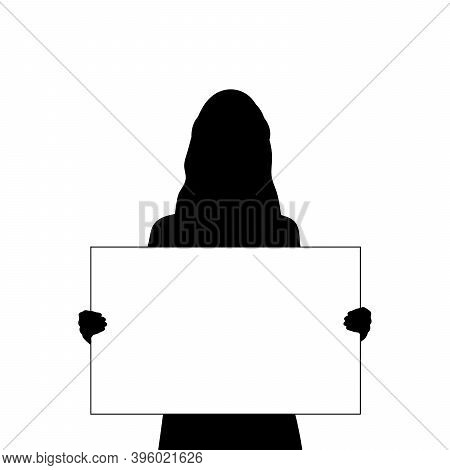 Silhouette Woman Holds Banner Placard Blank White Sheet For Text Space Closeup. Illustration Symbol
