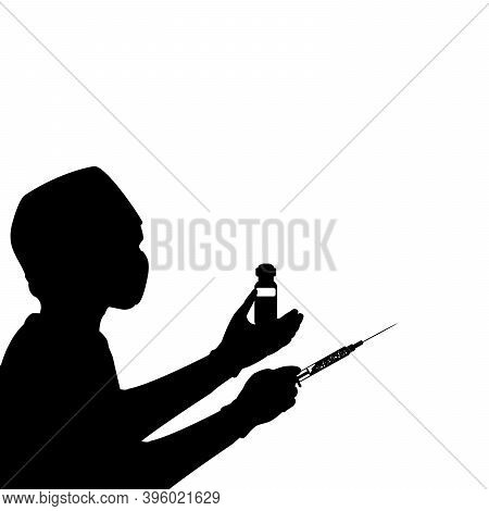 Silhouette Doctor Man Holding Syringe And Ampoule With Vaccine. Illustration Symbol Icon