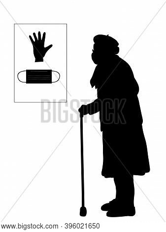 Silhouette Grandmother In Mask. Signboard Glove And Mask. Illustration Symbol Icon