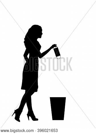Silhouette Of Woman Throws Medical Mask Into Trash. Illustration Symbol Icon
