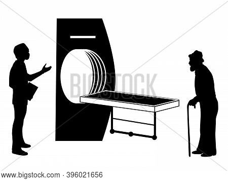 Silhouette Of Grandfather And Doctor At The Tomograph. Illustration Symbol Icon