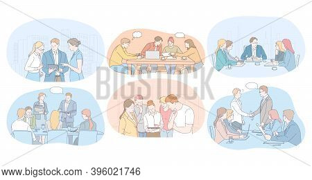 Teamwork, Brainstorming, Negotiations, Meeting, Business Partners Concept. Business People Office Wo