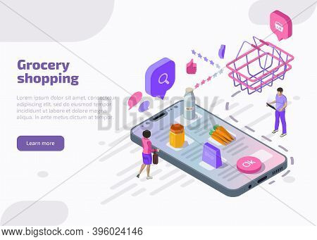 Grocery Shopping Online Concept. Isometric Smartphone Screen With Supermarket Basket, Vegetables, Fo