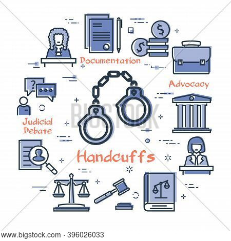 Vector Line Banner Of Legal Proceedings - Handcuffs Icon