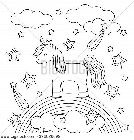 Coloring Book For Kids With A Cute Unicorn On A Rainbow. Ponies, Stars And Clouds. Childrens Drawing