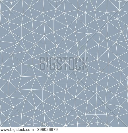 Abstract Seamless Polygon Pattern From White Lines On Gray Background. Vector Seamless Polygonal Pat