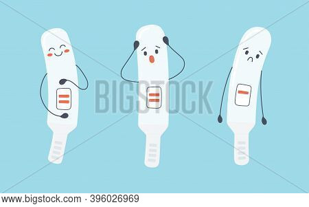 A Set Of Pregnancy Test Characters With Positive And Negative Results. Pregnancy Planning And Unexpe