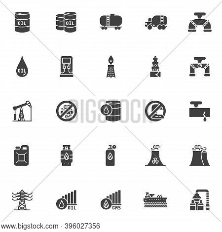 Gas And Oil Industry Vector Icons Set, Modern Solid Symbol Collection, Filled Style Pictogram Pack.