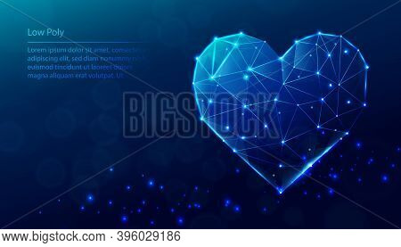 Vector Tech Low Poly Blue Background. Low Poly Heart Shape.
