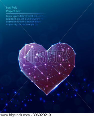 Vector Tech Low Poly Blue Background. Low Poly Red Heart Shape.