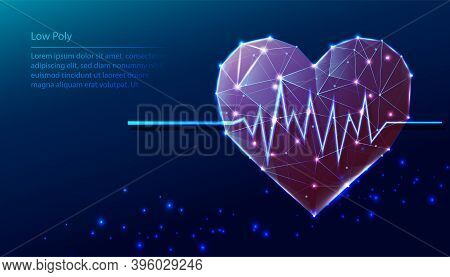 Vector Tech Low Poly Blue Background. Low Poly Heart Shape With Heart Beat Diagramma.