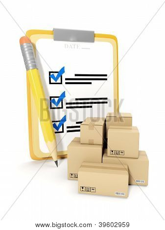 3D Illustration: Accounting Of Goods, Storage Of Goods. Notepad And Pencil On A White Background