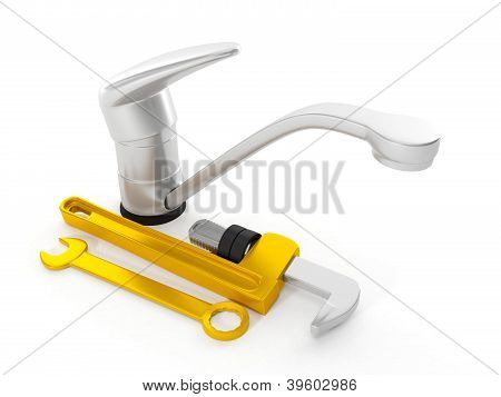 3D Illustration: Repair Faucet Wrench On A White Background