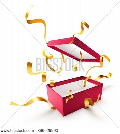 Ribbon Popping Out From Red Open Gift Box Over White Background