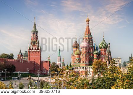 Moscow, Russia - November 18, 2020: Moscow,russia,red Square,view Of St. Basil's Cathedral And The S