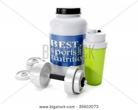 3D Illustration: Dumbbells, Shaker, Sports Nutrition, On A White Background