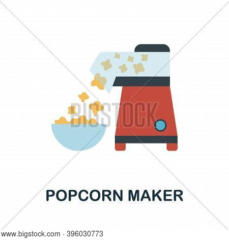 Popcorn Maker Icon. Simple Element From Kitchen Appliances Collection. Creative Popcorn Maker Icon F