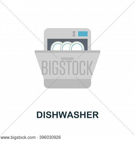Dishwasher Icon. Simple Element From Kitchen Appliances Collection. Creative Dishwasher Icon For Web