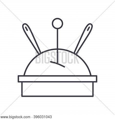 Pin Cushion Icon, Linear Isolated Illustration, Thin Line Vector, Web Design Sign, Outline Concept S