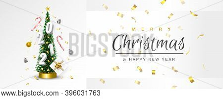 Christmas And New Year 2021 Greeting Card. Conical Christmas Tree. Pine Cones, Sweets, Confetti, Gif