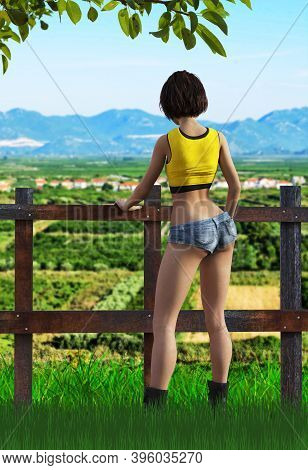 Back View Of A Sexy Young Hiker Woman, 3d Render