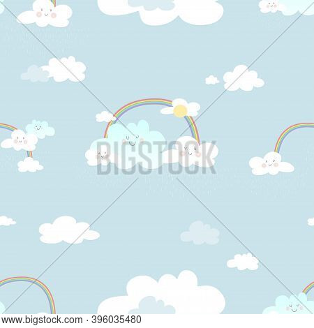Seamless Rainbow And Smiling Cloud With Raining On Blue Sky Background,cute Vector Of Clouds Scape I
