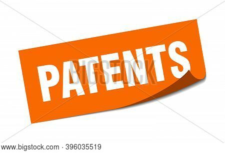 Patents Sticker. Square Isolated Label Sign. Peeler