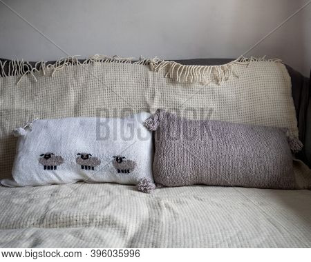Home Comfort, Hand-knitted Cushions On Pillows On A Sofa Covered
