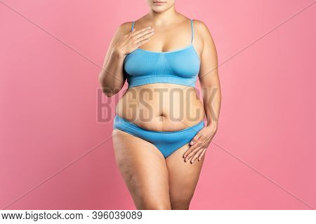 Fat Woman In Blue Underwear On Pink Background, Overweight Female Body