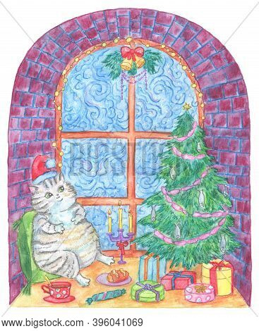 Christmas And New Year Greeting Card With Funny Fat Cat Celebrating Holidays On Window Sill With Tas