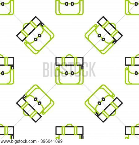 Line Hiking Backpack Icon Isolated Seamless Pattern On White Background. Camping And Mountain Explor
