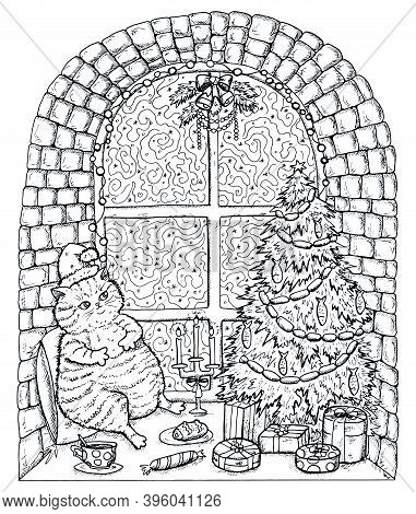 Black And White Christmas And New Year Greeting Card With Funny Fat Cat On Window Sill With Tasty Fo