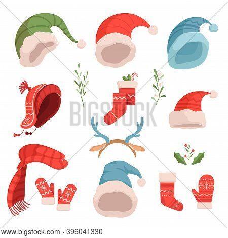 Set Of Cute Christmas Santa And Elf Hats, Hats, Mittens. Christmas Illustration