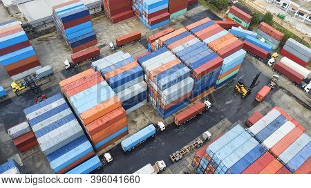 Containers In The Port, Shipping & Transportation Concept And Discharging Containers Services In Mar