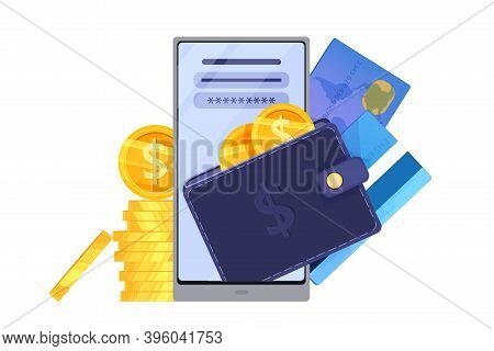 Digital Wallet And Online Payment Finance Vector Concept With Smartphone Screen, Cards, Coins. Inter
