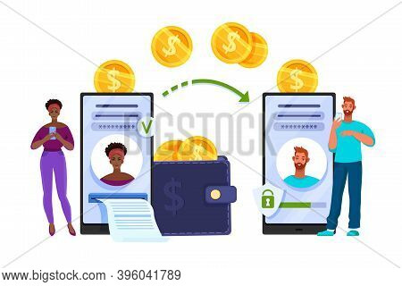 Online Money Transfer Or Mobile Payment Finance Vector Concept With People Donating In Internet. Dig