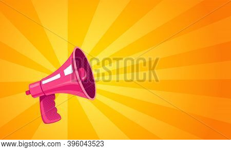 Vector Vintage Poster With Retro Pink Megaphone On Yellow Background. Retro Megaphone Yellow Abstrac