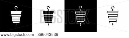 Set Grilled Shish Kebab On Skewer Stick Icon Isolated On Black And White Background. Meat Kebab On S