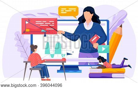A Girl Communicate And Prepare To Respond During An Online Geometry Lesson At School On The Internet