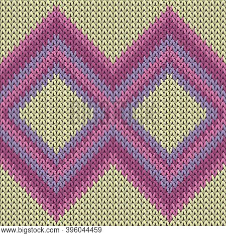 Modern Rhombus Argyle Knit Texture Geometric Seamless Pattern. Rug Knitwear Fabric Print. Winter Sea