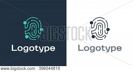 Logotype Fingerprint Icon Isolated On White Background. Id App Icon. Identification Sign. Touch Id.